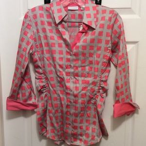 New York & Company Blouse S Gray Pink Ruched